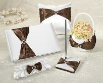 5 Piece Brown Satin Sash Wedding Set